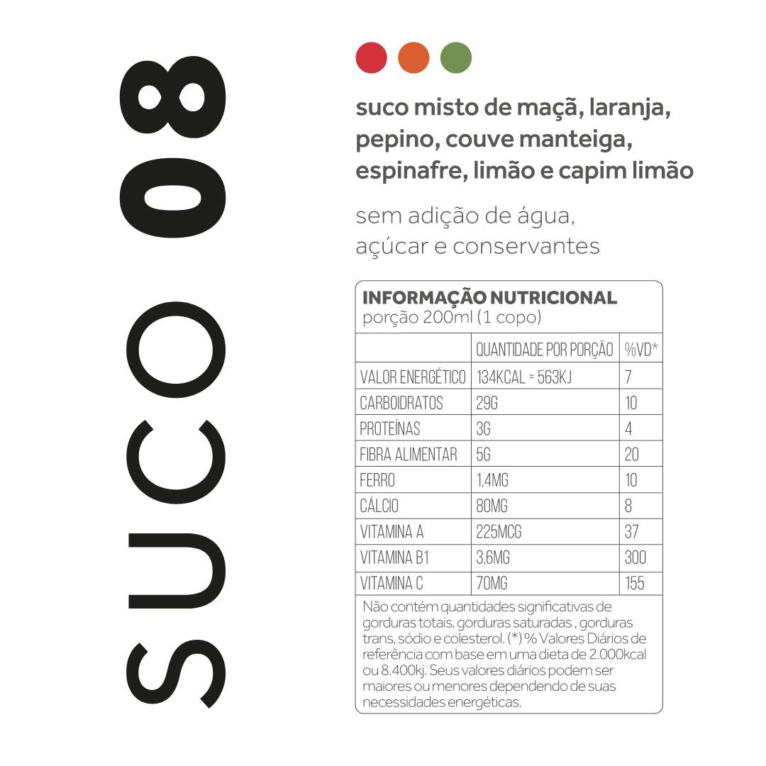 Suco 08 - Maça, laranja, pepino, couve manteiga, espinafre, limão  - kük