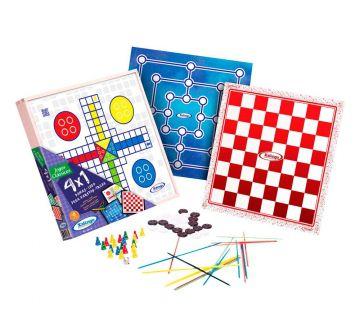 Jogo 4x1 - Dama, Ludo, Trilha E Pega Varetas