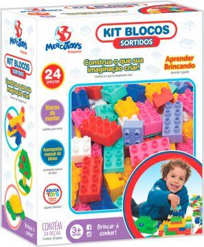 Kit Blocos de Montar Sortidos 24 Peças - Mercotoys
