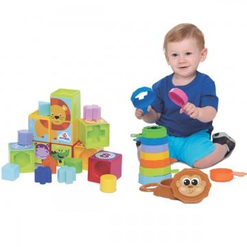 Kit de Brinquedos Educativos Cubinhos 5 em 1 + Empilha