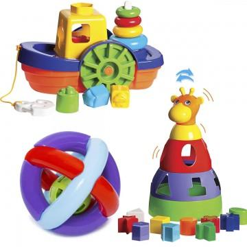 Kit de Brinquedos para Bebês Barco + Girafa + Bola