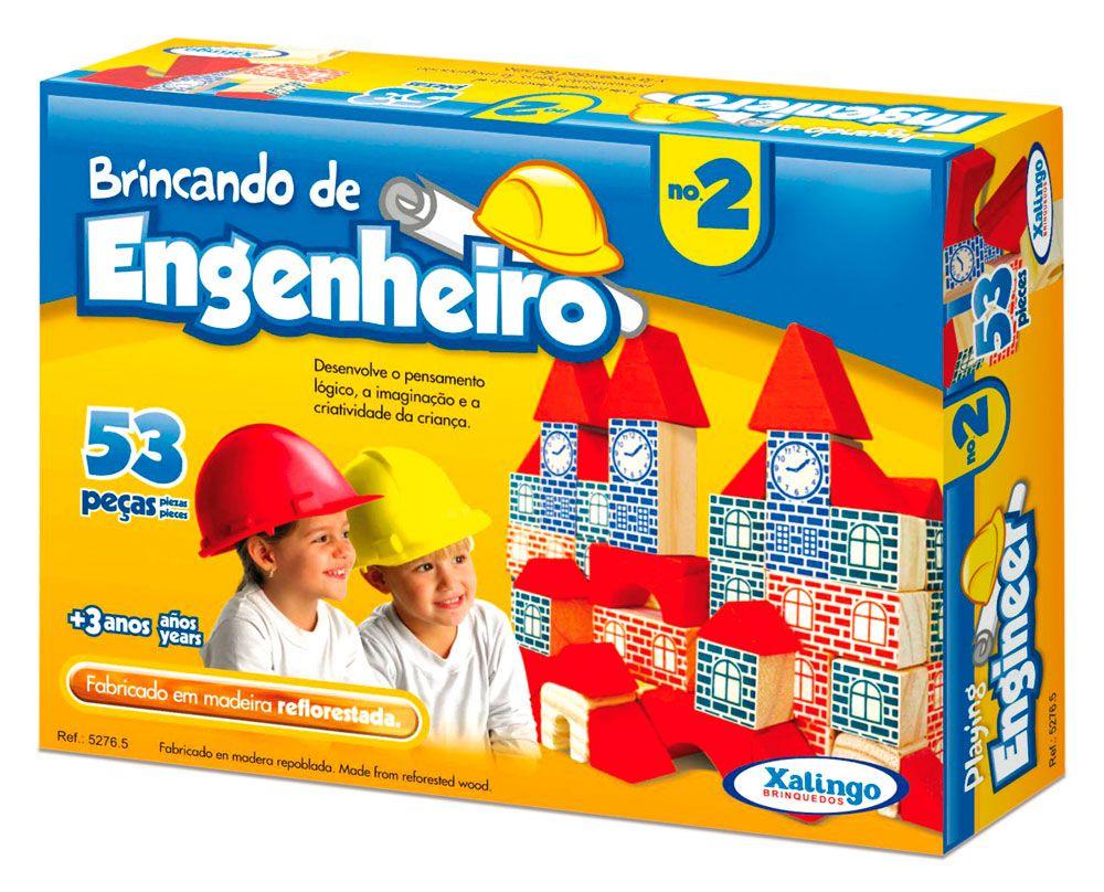 Blocos De Montar Brincando De Engenheiro 53 Peças - Xalingo