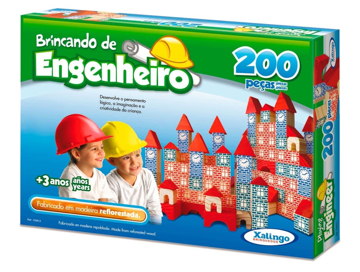 Brinquedo Pedagógico - Brincando De Engenheiro 200 Peças
