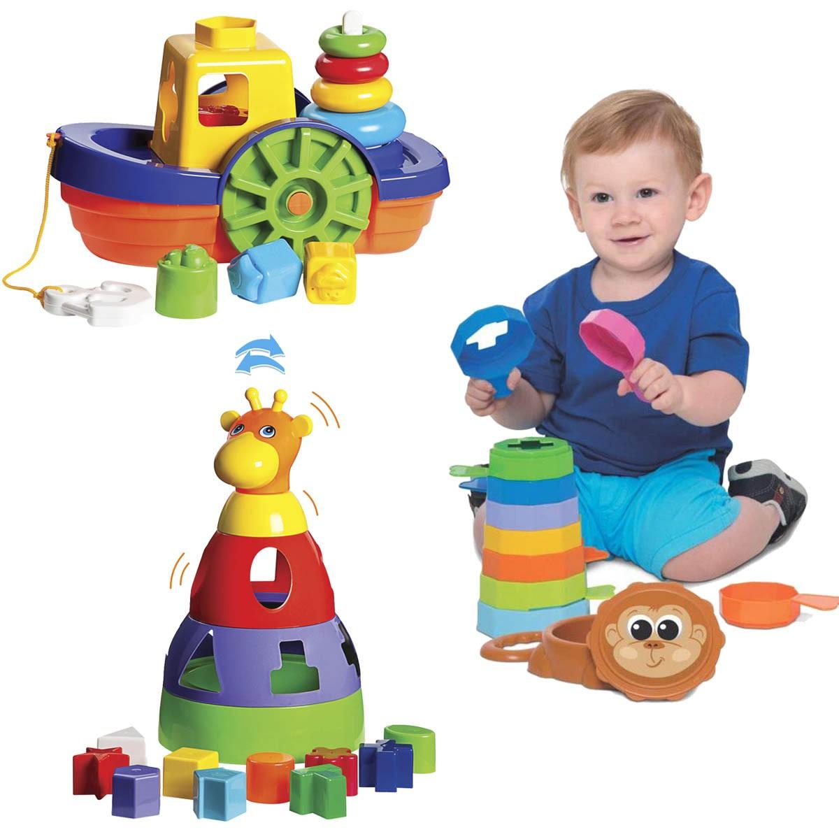 Brinquedos para Bebês Barco + Empilha Baby Macaco + Girafa