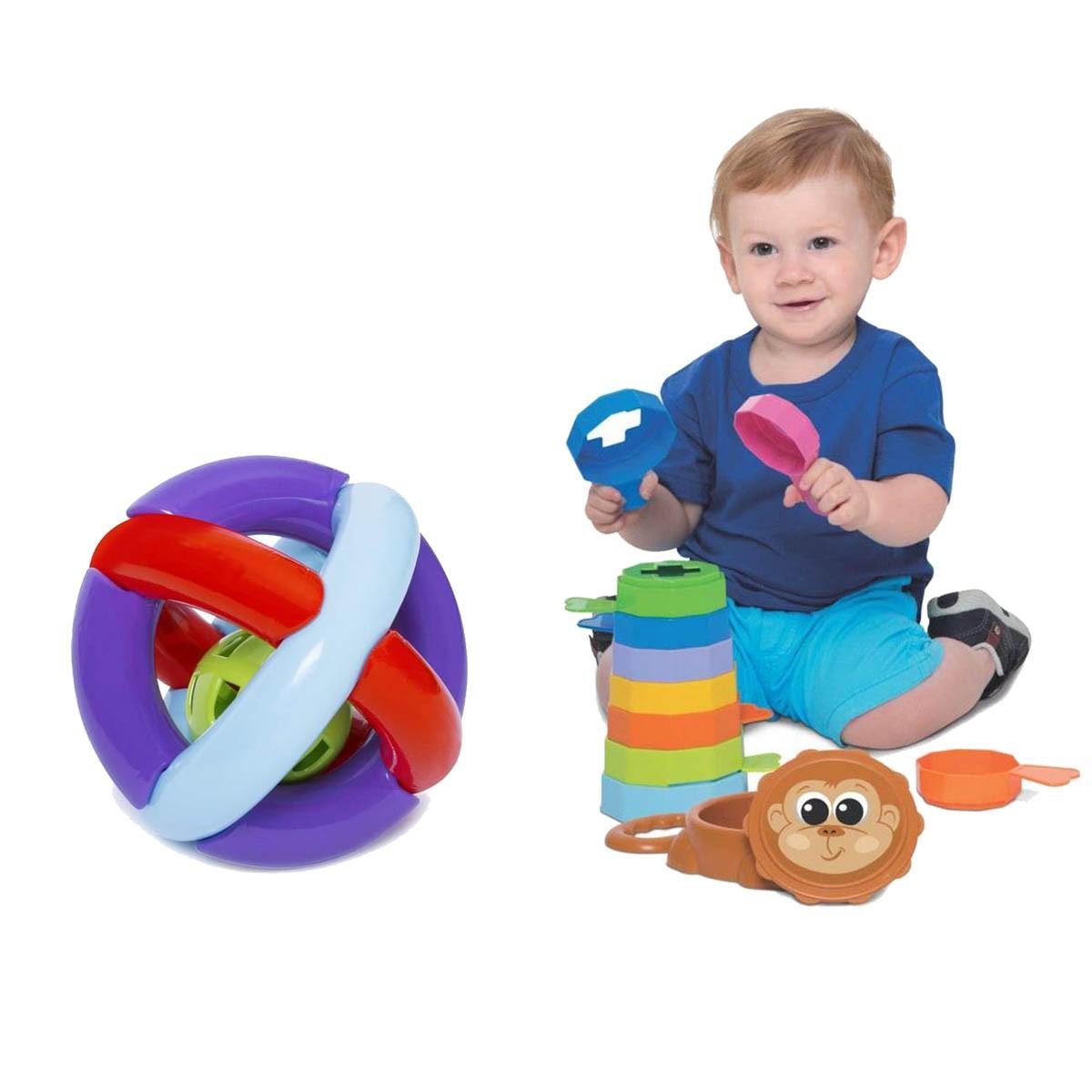 Kit de Brinquedos Educativos Bola + Empilha