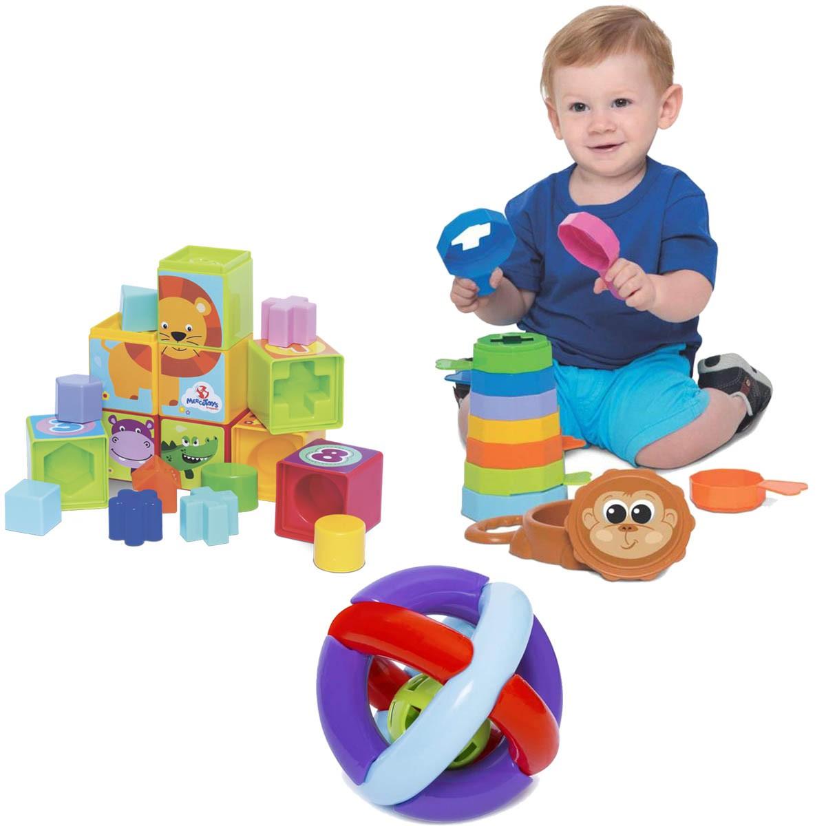 Kit de Brinquedos Educativos Cubinhos + Empilha + Bola