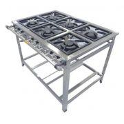 Fogão Industrial Inox 6 Bocas 3QD 3QS Luxo - Cristal Aço