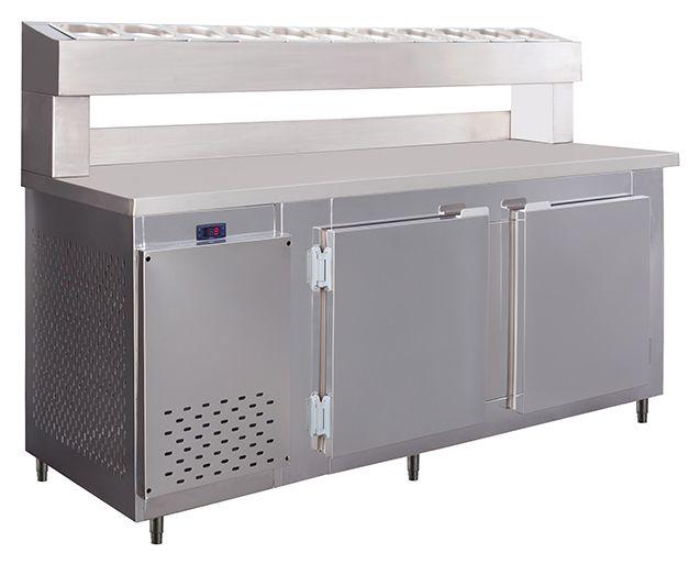 Balcão Condimentador Refrigerado para pizzaria inox 1,90 mts 11 cubas-frilux