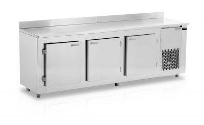 Balcão de  Encosto Refrigerado Inox 2,55 Metros GELOPAR