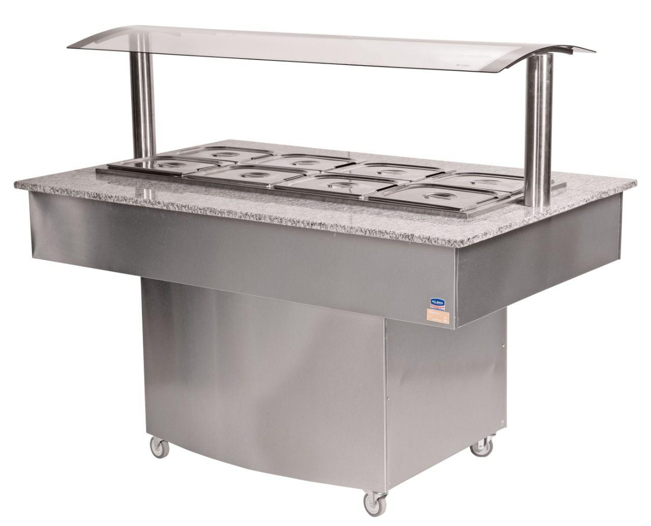 Buffet Premium Aquecido para 12 Cubas em Inox Escovado-KLIMA