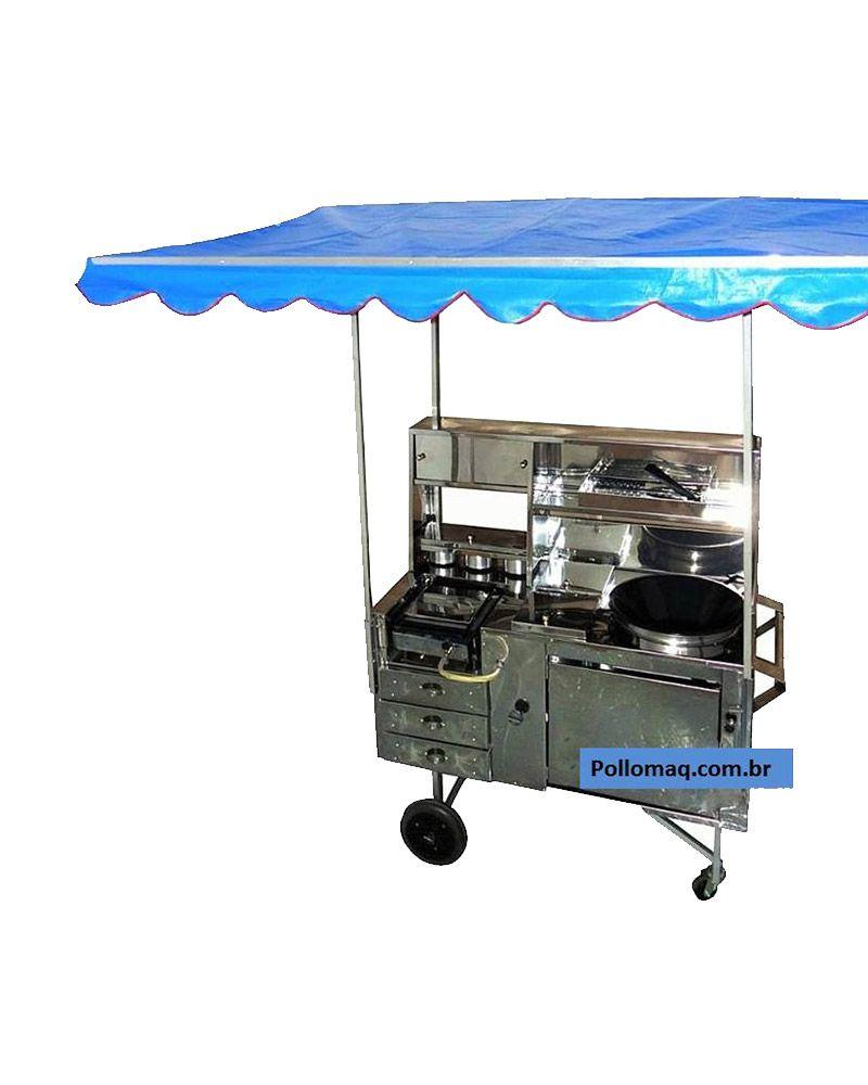 Carrinho 3 em 1 - Pastel- Lanche e Hot Dog Com Cobertura - Inox