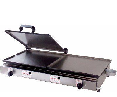 Chapa Para Lanches E Hot Dog Dupla Com Prensa À Gás 30x60 Cm ALFA