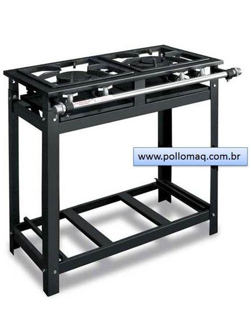 Fogão Industrial 2 Bocas 1QD 1QS 30x30 - Cristal Aço