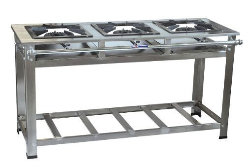 Fogão Industrial em Inox 3 Bocas 30X30 2QS 1QD - Cristal Aço