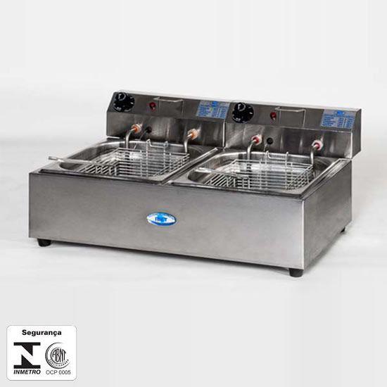 Fritadeira Elétrica Inox 2 Cuba 7 Lts - Ibet