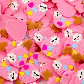 Aplique emborrachado Balão Rosa Coração Colorido (unidade)