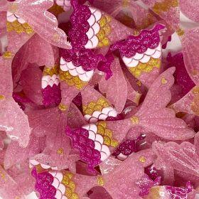 Aplique emborrachado Cauda de Sereia Rosa Glitter Pink/Dourada (unidade)
