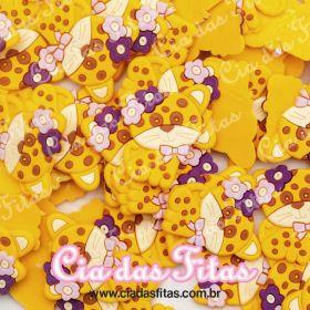 Aplique emborrachado Gatinho Amarelo Flor Colorida (unidade)