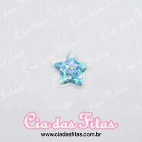 Aplique Estrela Biscuit Transparente Azul 5cm