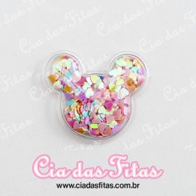 Aplique Minnie Transparente Coração Pequeno 5cm x 4,5cm