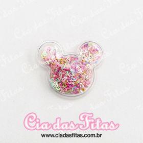 Aplique Minnie Transparente Coração vazado 5cm x 4,5cm