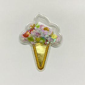 Sorvete transparente casquinha dourada (Furta Cor) 7,5cmx5,0cm