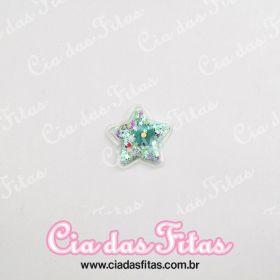 Aplique Estrela Biscuit Transparente Verde 5cm