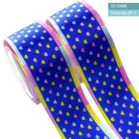 Fita de Gorgurão coração colorido fundo Azul 38mm x 1mts