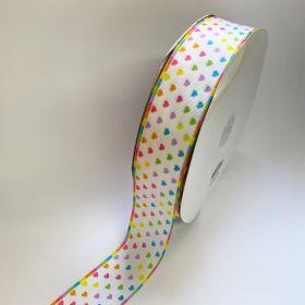 Fita de Gorgurão Coração colorido Fundo Branco 38mm x 5mts