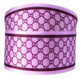 Fita de Gorgurão Monograma Rosa 38mm x 1mts
