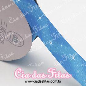 Fita de Gorgurão Sanding Estrela fundo Azul 38mm x 1mt
