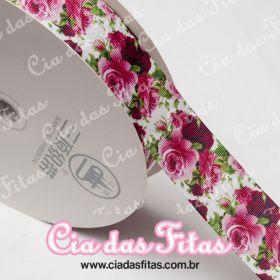 Fita de Gorgurão Sanding Floral Roxo e Rosa 38mm x 1mt