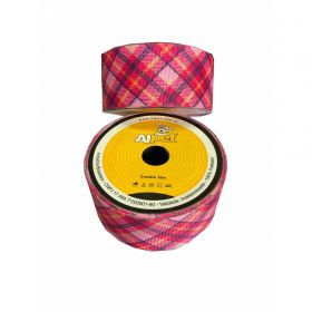 Fita de Gorgurão Xadrez Pink e Rosa 3308-10 38mm