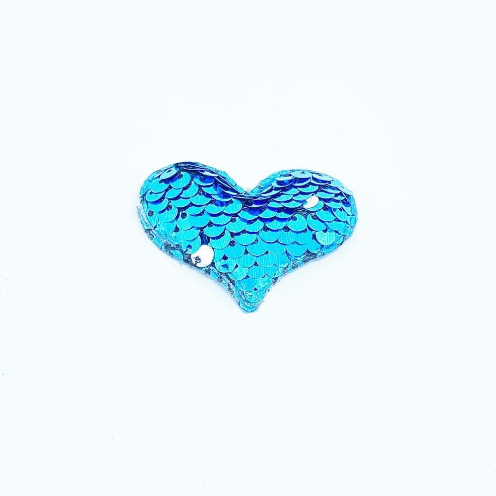 Coração Almofadado com Paetê 4,0x5,5cm