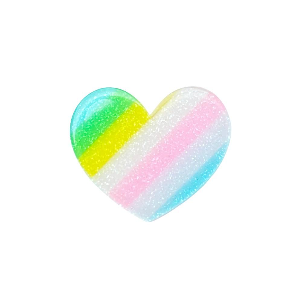 Aplique Acrílico Coração Glitter Arco-iris 3,5 * 3,0 cm