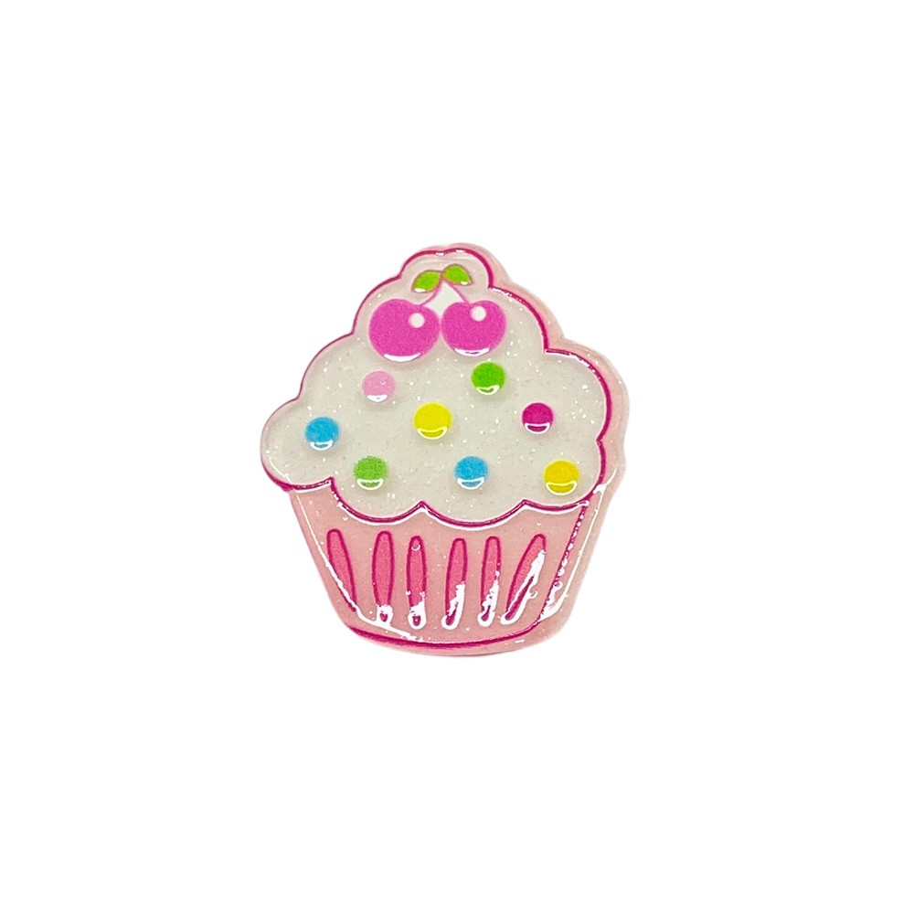 Aplique Acrílico Cupcake Glitter Bolinha Colorida e Cereja (unidade)
