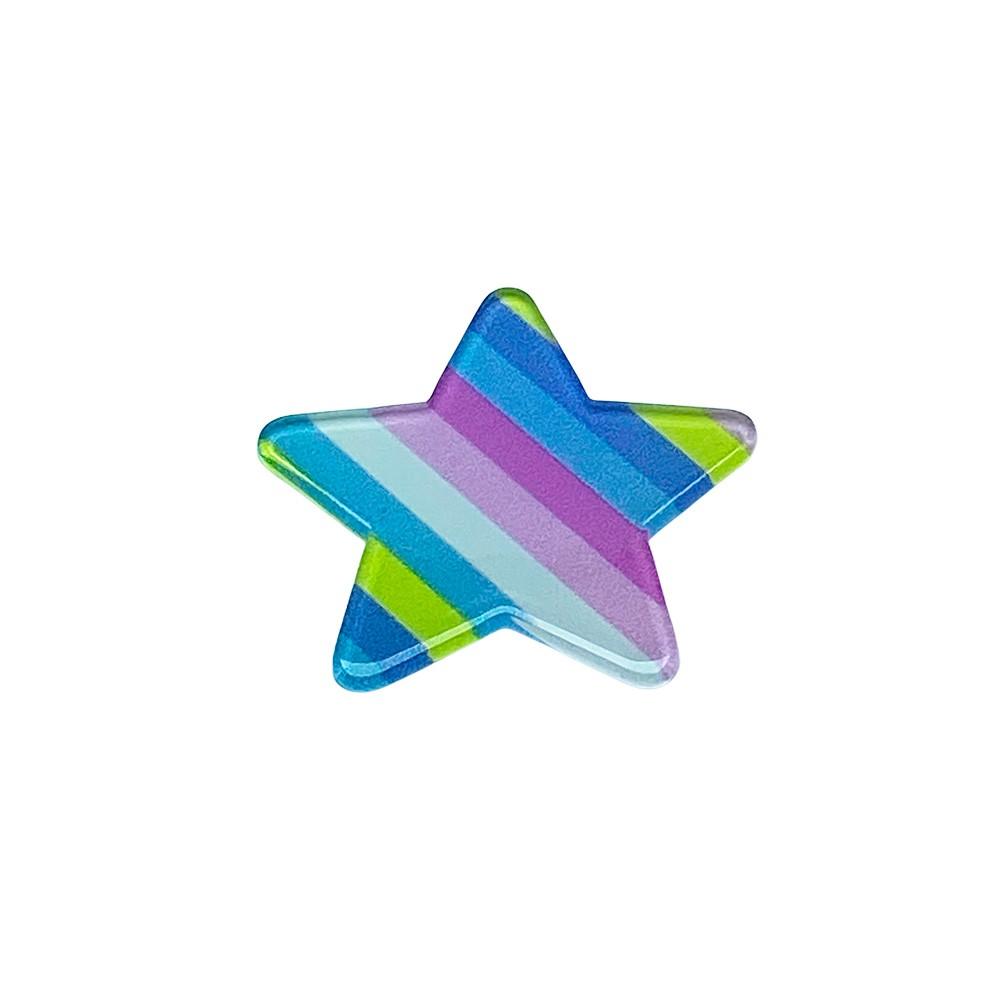 Aplique Acrílico Estrela Arco-íris Rosa e Pink 3,5cm