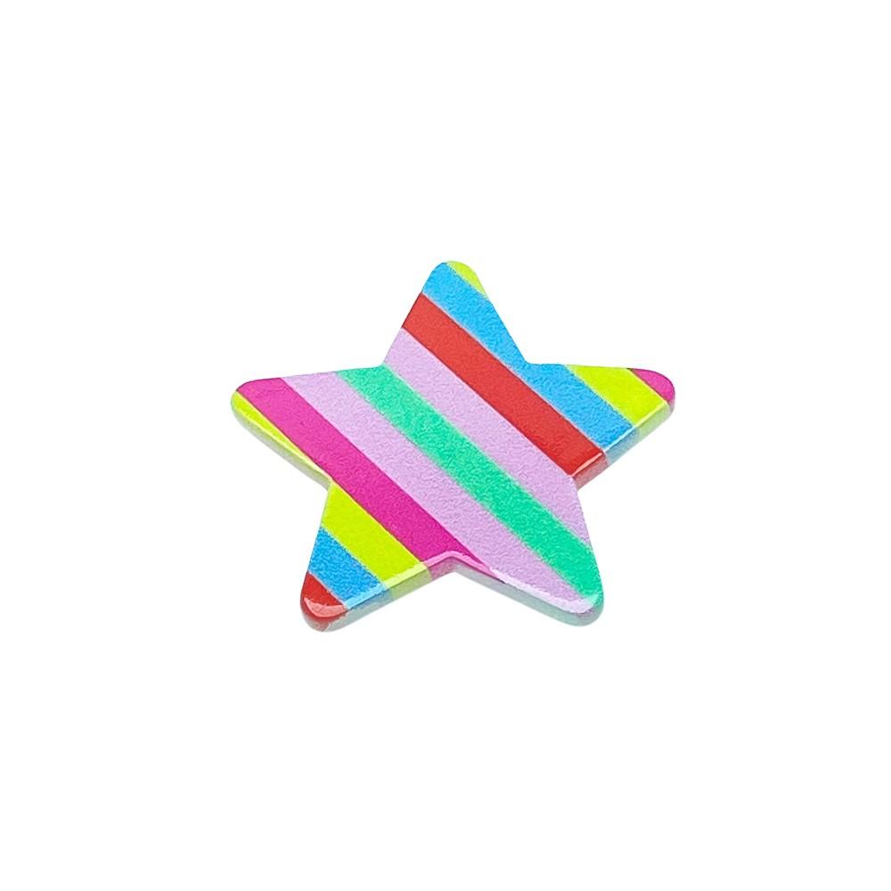 Aplique Acrílico Estrela Arco-íris Vermelho e Rosa 3,5cm