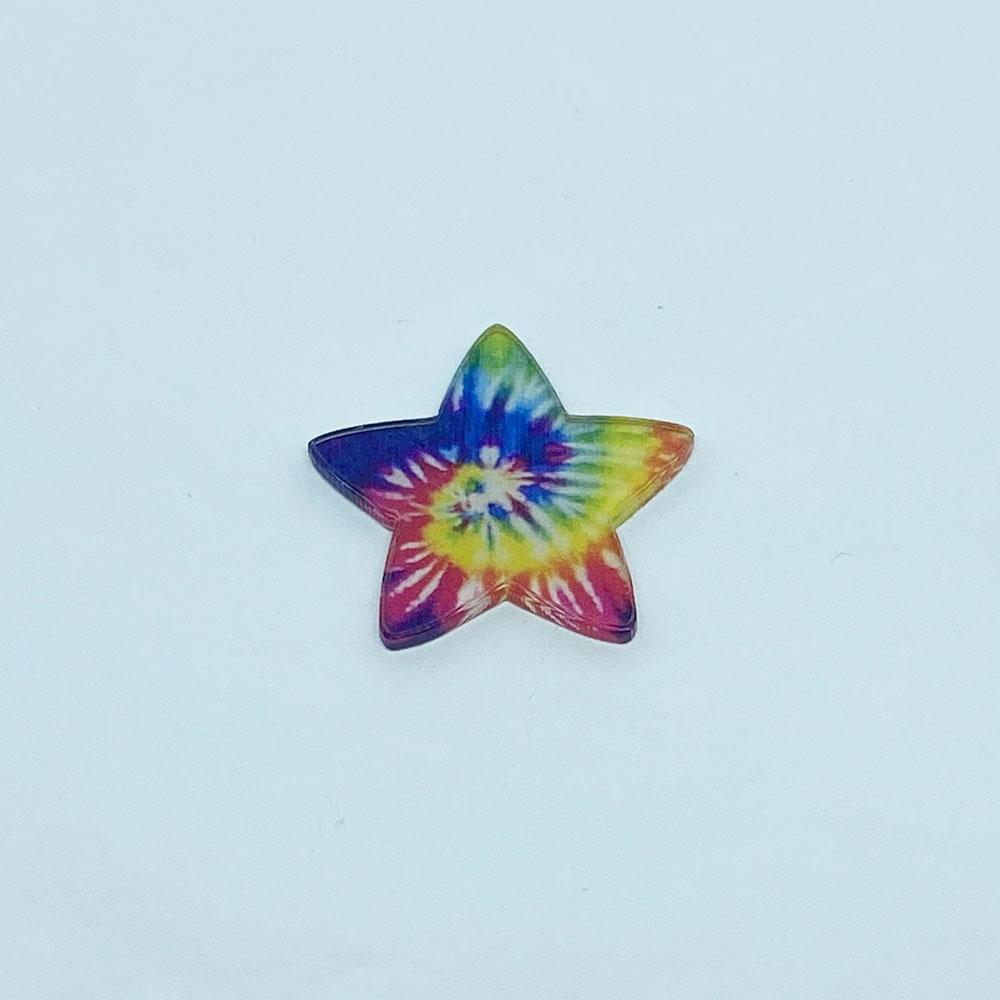 Aplique Acrílico Estrela Escura Tie Dye 3,0 cm