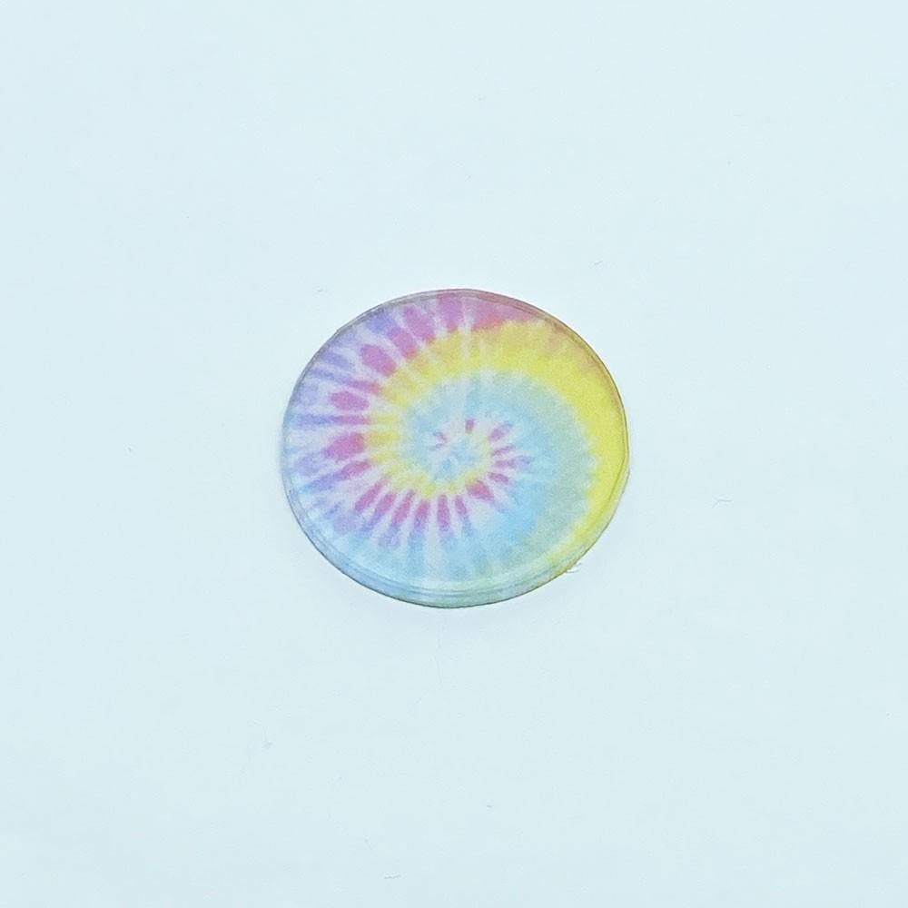 Aplique Acrílico Redondo Tie Dye Claro 3,0 cm