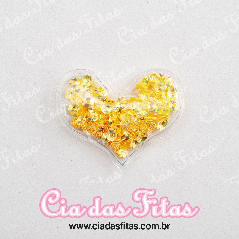 Aplique Coração Transparente Flor 6cm x 5cm
