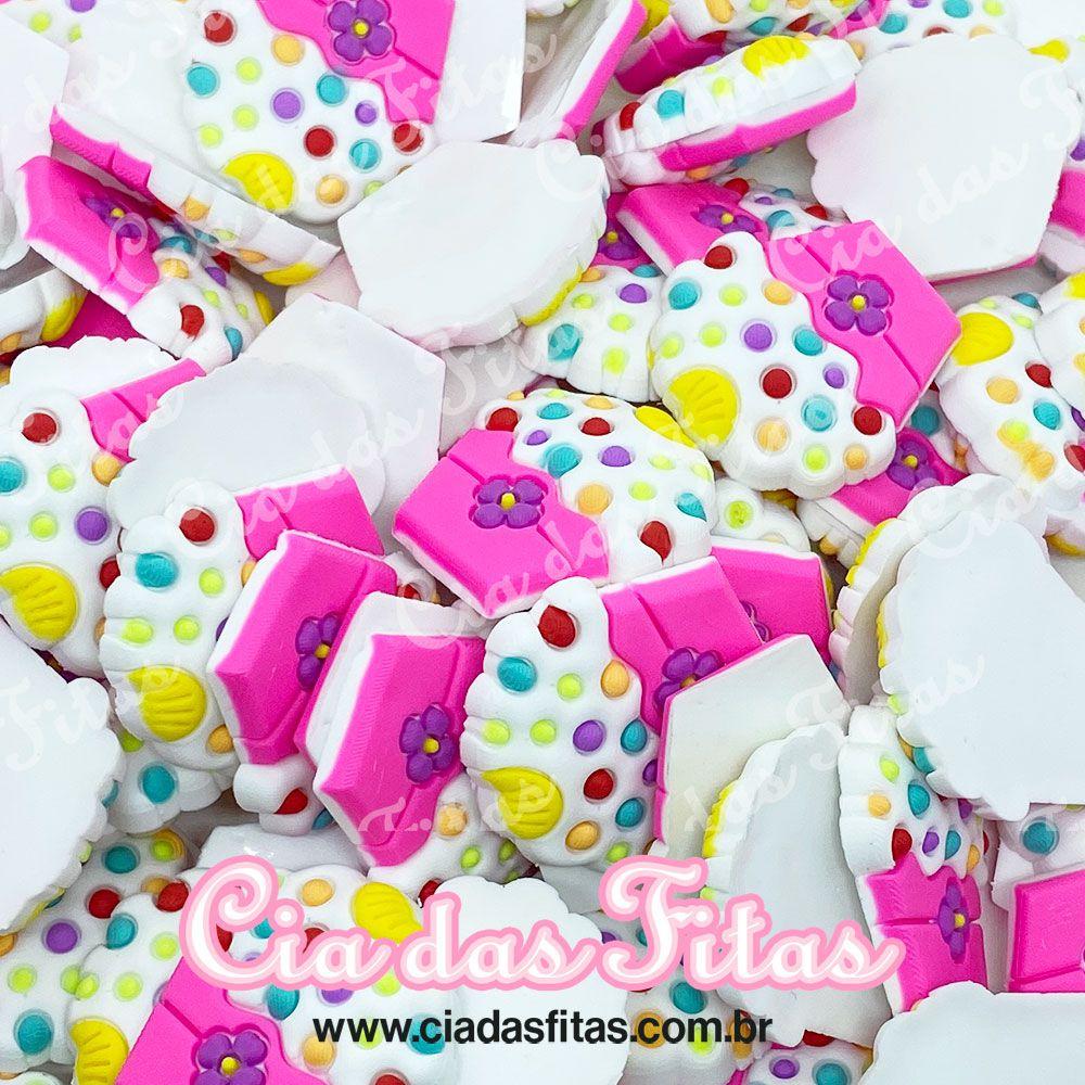 Aplique Cupcake com flor (unidade)