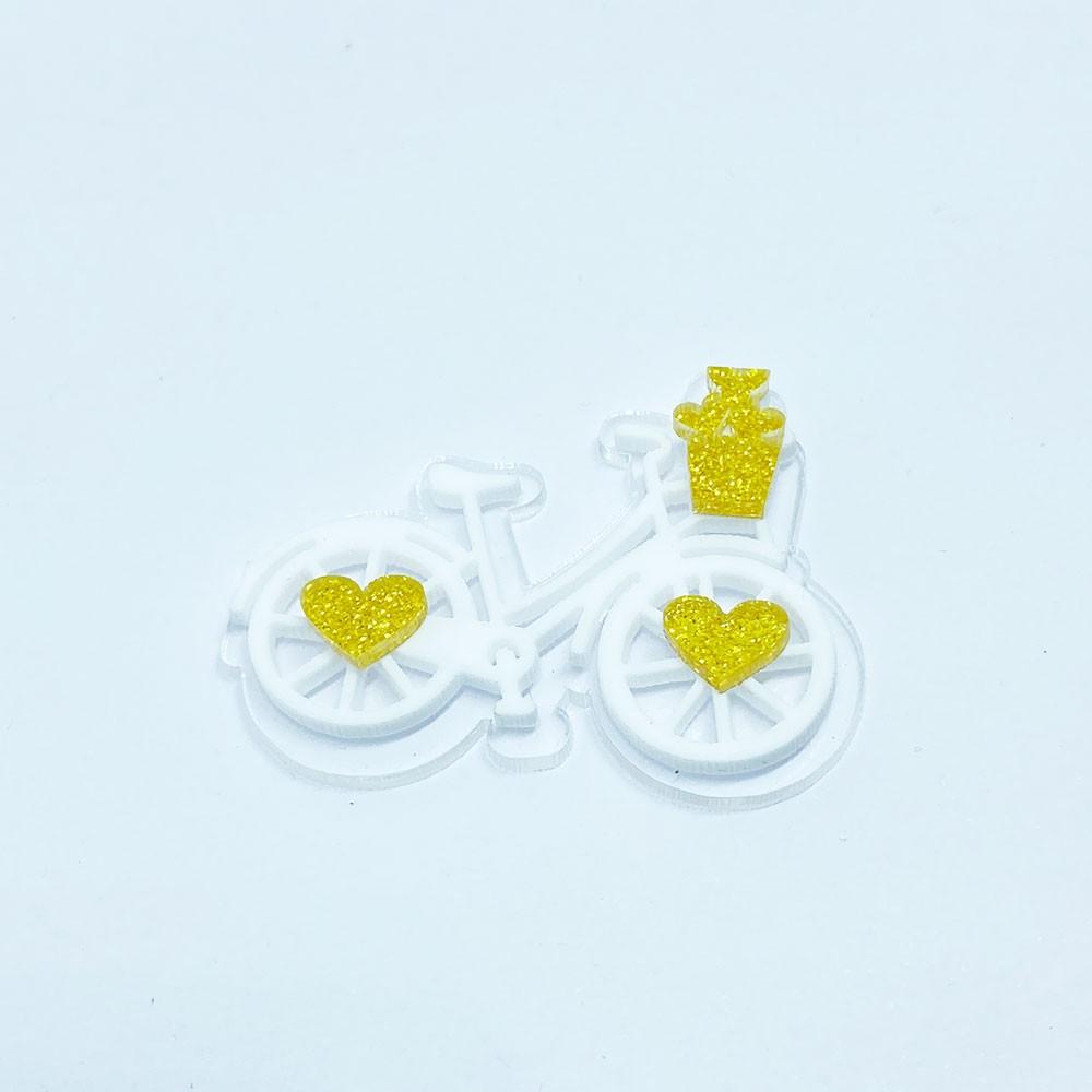 Aplique em camada de Acrílico Bicicleta Coração Dourado (unidade)