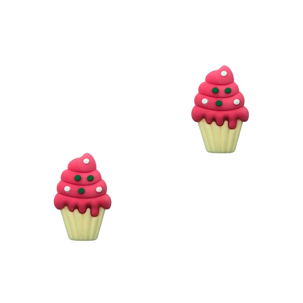 Aplique Emb. Cupcake Creme c/ Pink - 1 Unidade