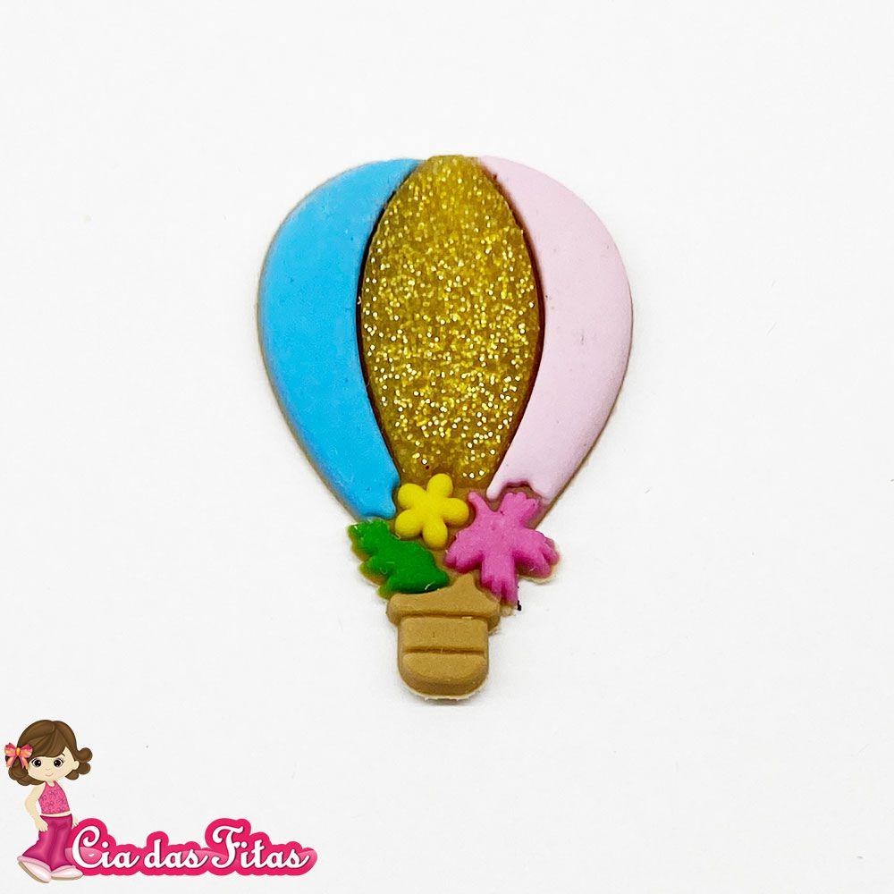 Aplique emborrachado Balão Glitter Dourado (unidade)