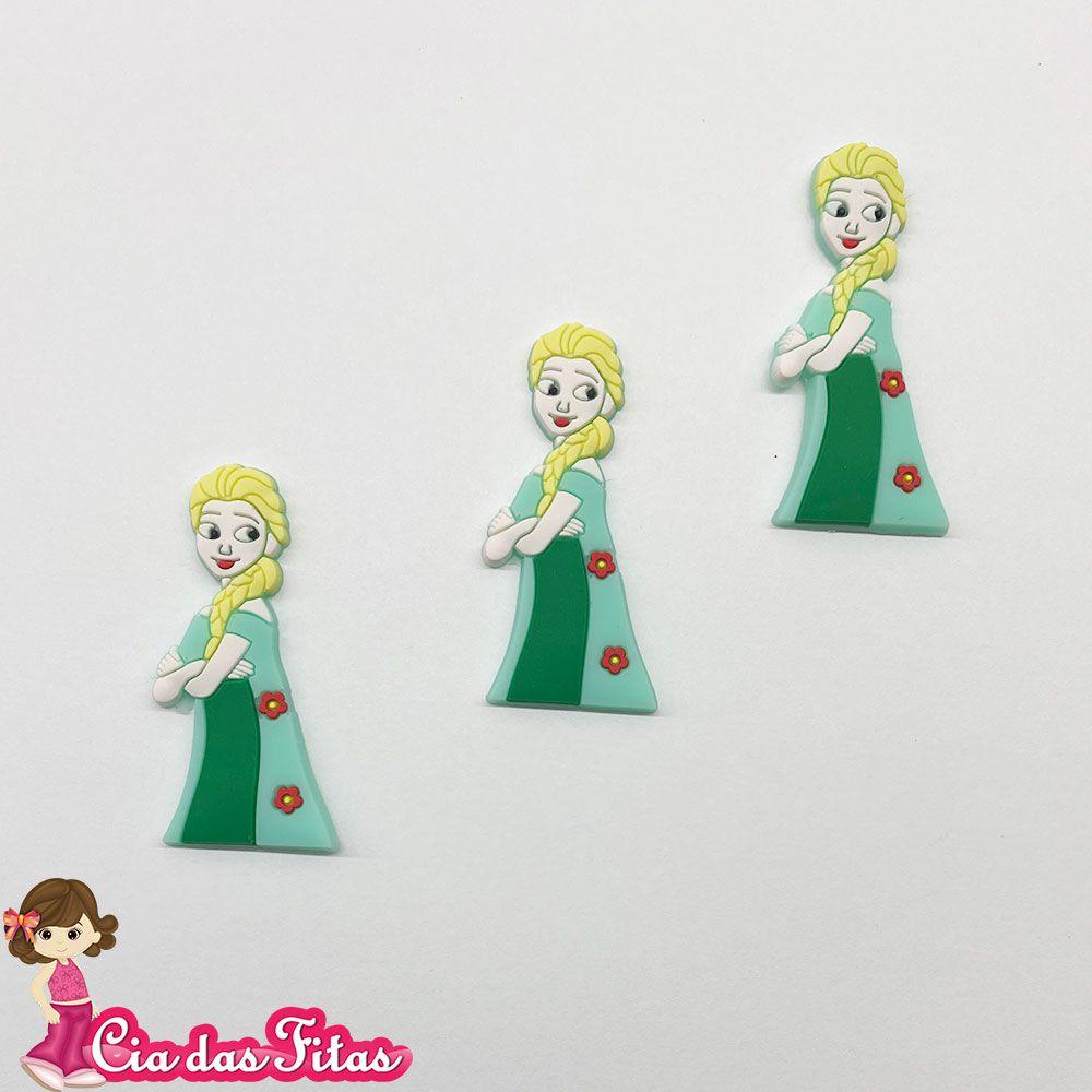 Aplique emborrachado Bonequinha vestido verde cabelo com Trança (unidade)