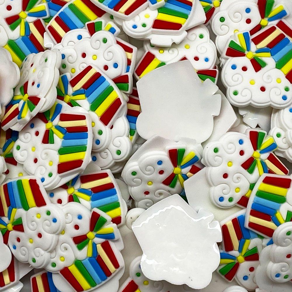 Aplique emborrachado Cupcake Listra colorida Laço Colorido(unidade)