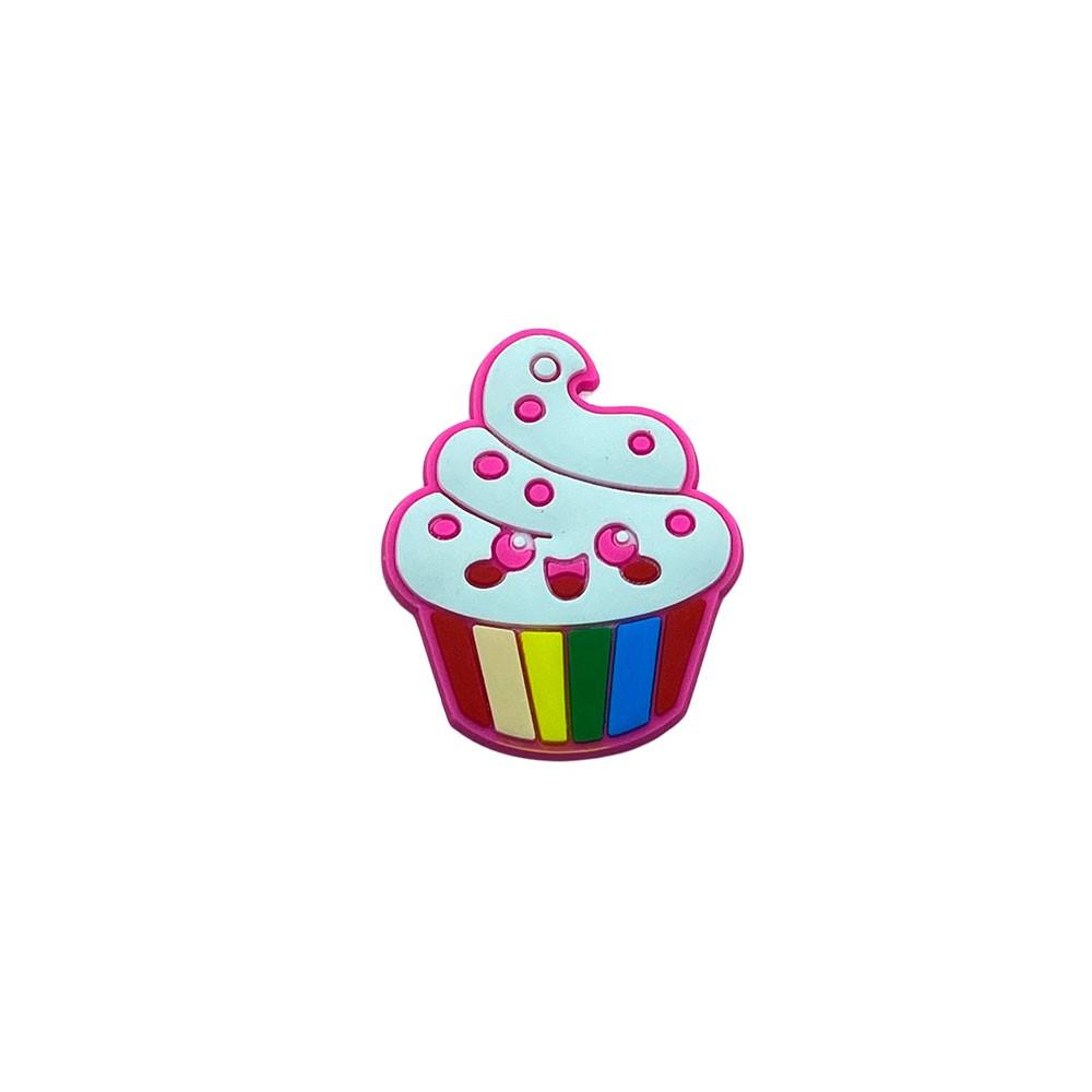 Aplique emborrachado Cupcake Carinha Rosa (unidade)