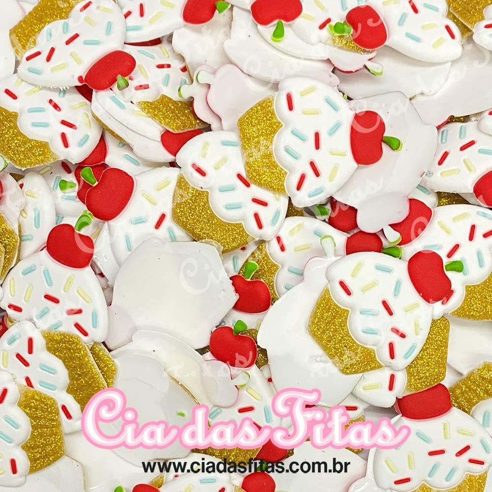 Aplique emborrachado Cupcake Cereja Glitter Branco (unidade)