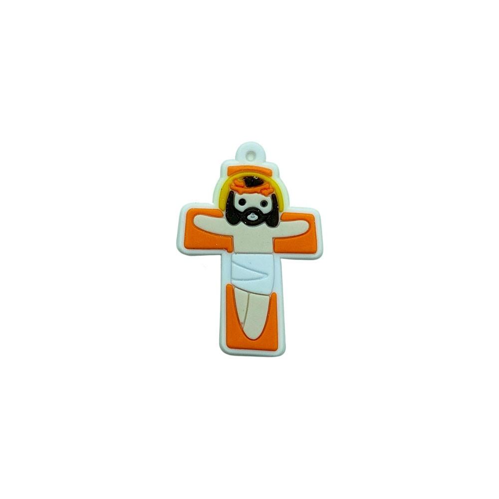 Aplique emborrachado Jesus na Cruz com Furo (unidade)